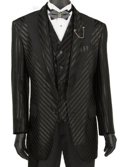 Tuscany Collection - 3 Piece Slim Fit Party/Wedding Shiny Stripe Suit in Black - SUITS FOR MENS