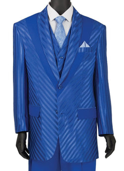 Shiny Stripe Collection - 3 Piece Slim Fit Party/Wedding Suit in Blue - Mens Suits