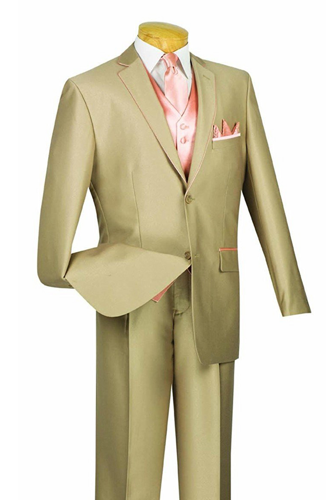 Michelangelo Collection - Shark Skin Classic Fit 3 Pieces 2 Buttons Single Pleated Pants Tan - SUITS OUTLETS