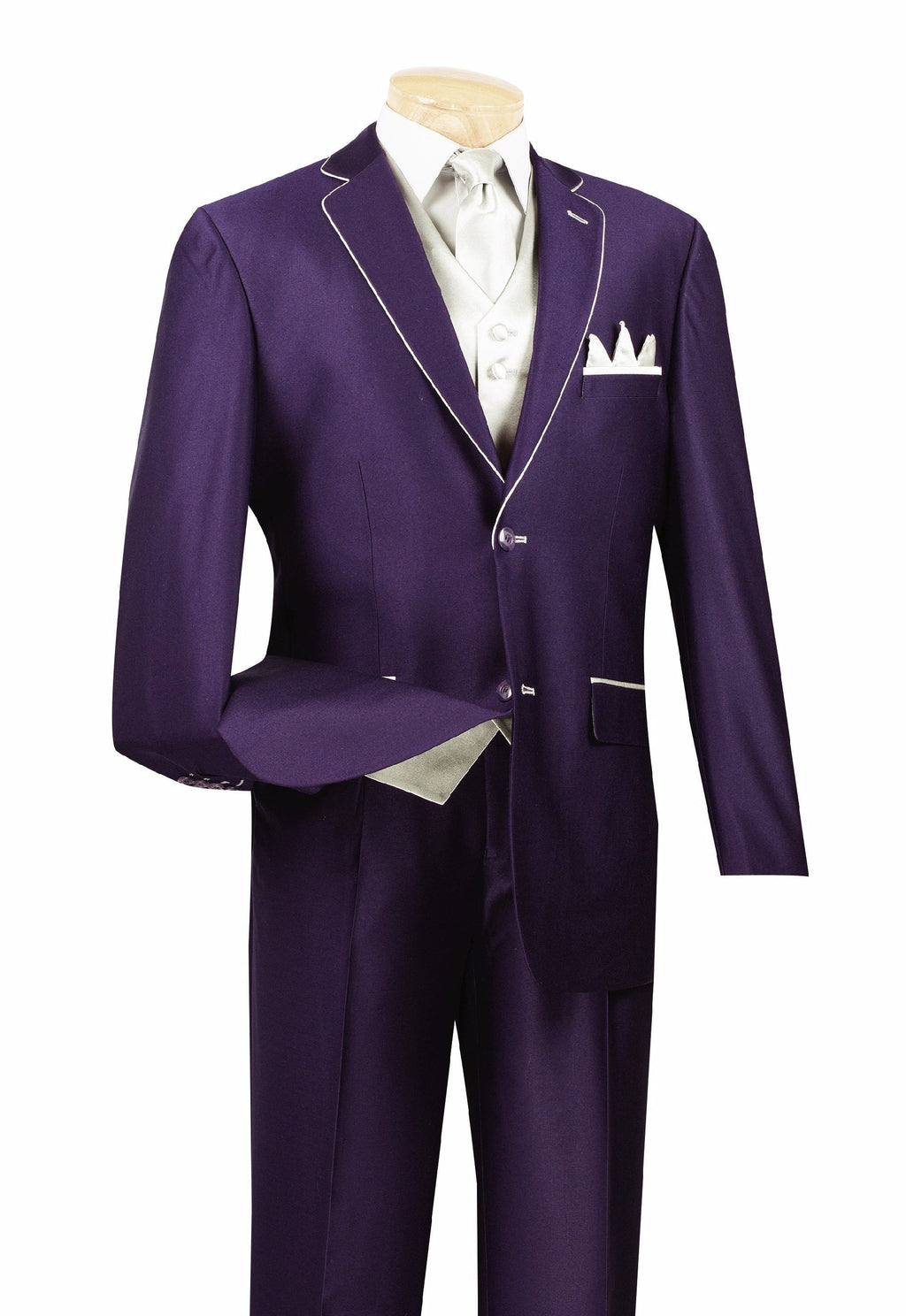 Michelangelo Collection - Shark Skin Classic Fit 3 Pieces 2 Buttons Single Pleated Pants Purple - SUITS OUTLETS