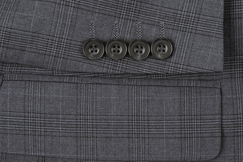 San Gemini Collection - 3 Piece Suit 2 Buttons Gray Glen Plaid Regular Fit - SUITS FOR MENS