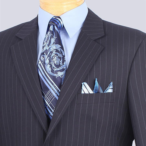 Business Suit Regular Fit 2 Buttons Pinstripe In Navy - Mens Suits