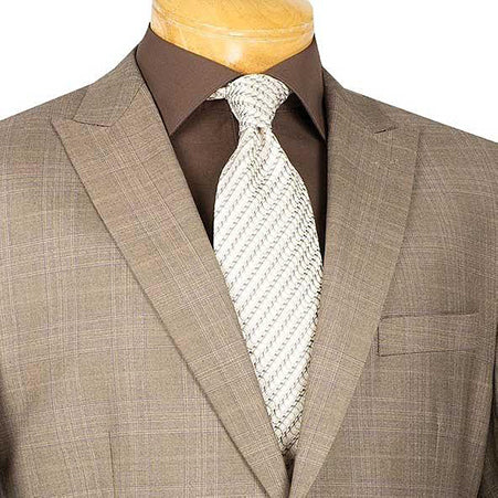 Men's Dress Suit 2 Piece Glen Plaid Regular Fit in Tan - Mens Suits