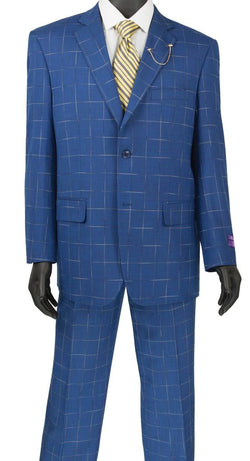 Porana Collection - Regular Fit Windowpane Suit 2 Piece in Blue - SUITS FOR MENS