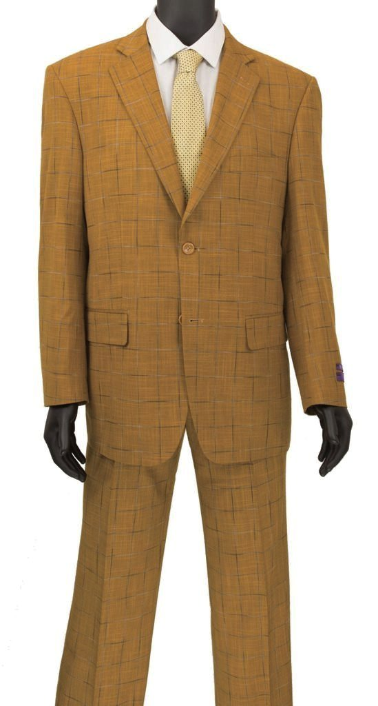 Porana Collection - Regular Fit Windowpane Suit 2 Piece in Ginger - SUITS FOR MENS