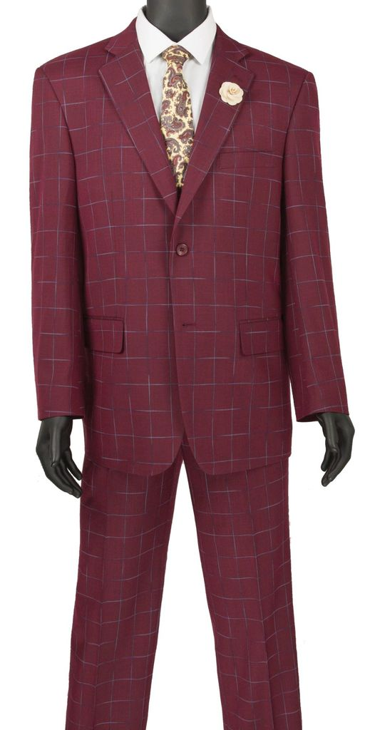 Porana Collection - Regular Fit Windowpane Suit 2 Piece in Wine - SUITS FOR MENS