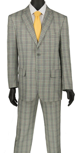 Porana Collection - Regular Fit Glen Plaid Suit 2 Piece in Gray - SUITS FOR MENS