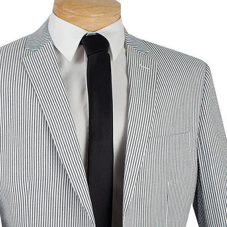 Spring Men's Fashion Slim Fit 2 Piece Suit Black Striped Seersucker - Mens Suits
