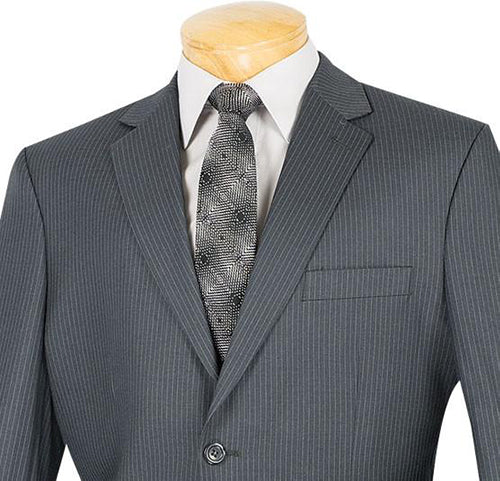 Regular Fit Men's Pinstripe 2 Piece Suit 2 Buttons in Gray - Mens Suits