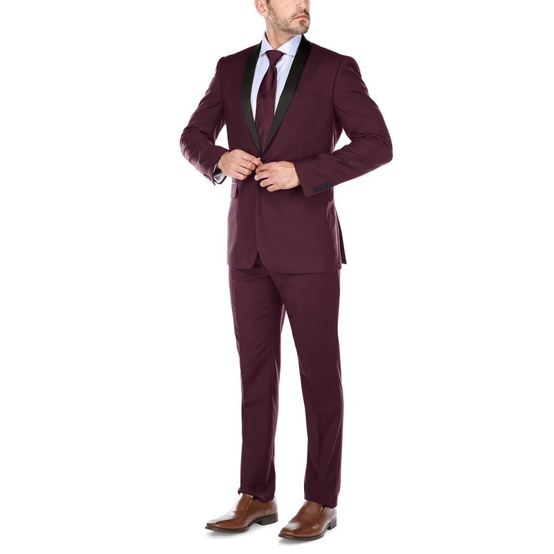 Burgundy 2 Piece Tuxedo Shawl Lapel Slim Fit - SUITS FOR MENS
