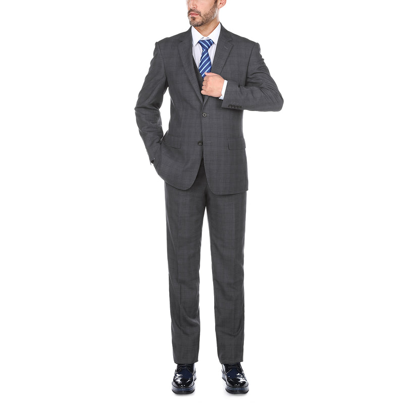 San Gemini Collection - 3 Piece Suit 2 Buttons Gray Glen Plaid Regular Fit