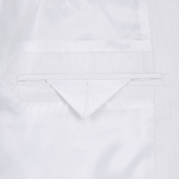 Linen Suit 2 Piece 2 Buttons Regular Fit In White - SUITS FOR MENS