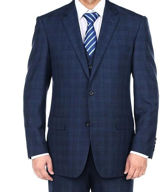 San Gemini Collection - 3 Piece Suit 2 Buttons Blue Glen Plaid Regular Fit - SUITS FOR MENS
