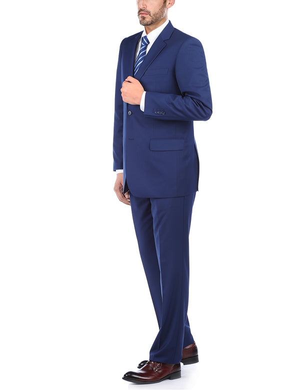 Vanderbilt Collection  - Classic 2 Piece Suit 2 Buttons Regular Fit In Blue - SUITS FOR MENS