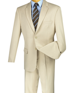 Duomo Collection - Beige Men's Regular Fit Suit 2 Piece 2 Button - SUITS FOR MENS