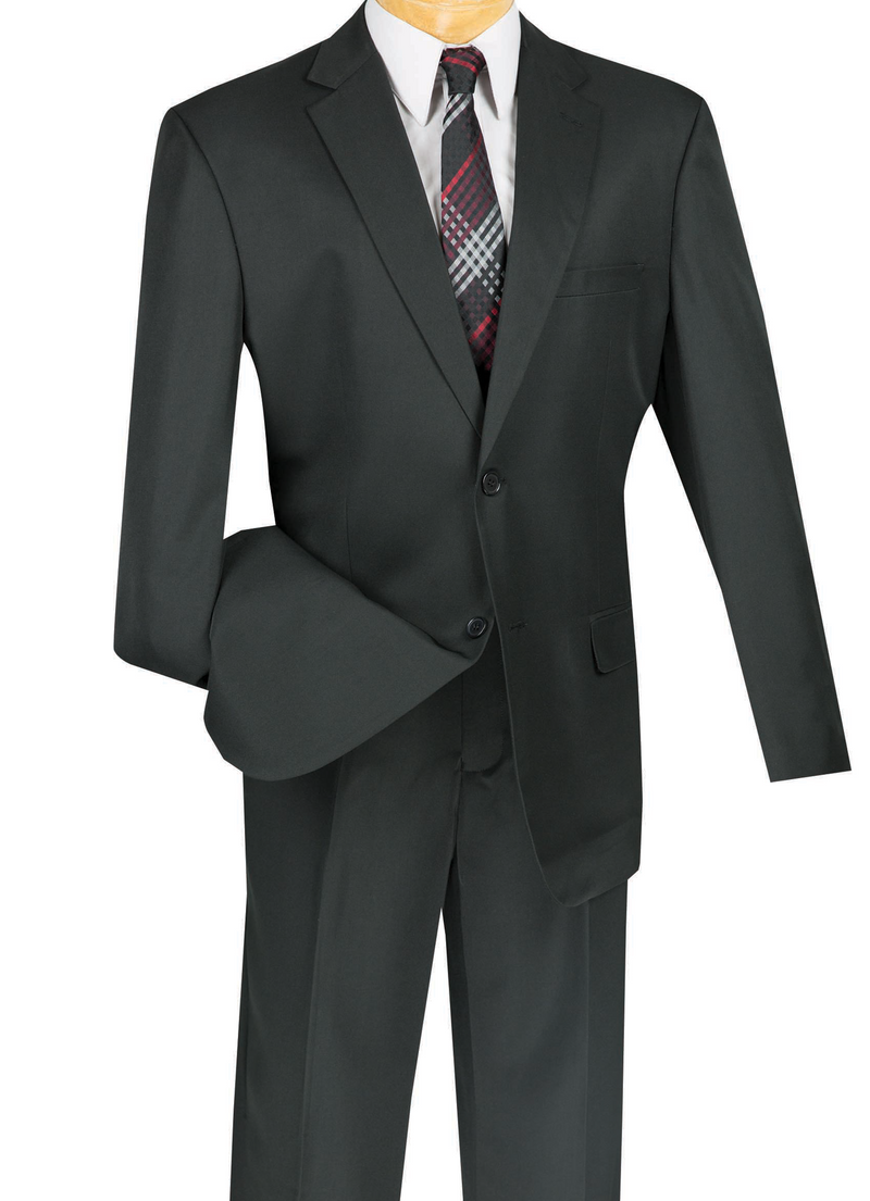 Duomo Collection - Black Men's Regular Fit Suit 2 Piece 2 Button - SUITS FOR MENS