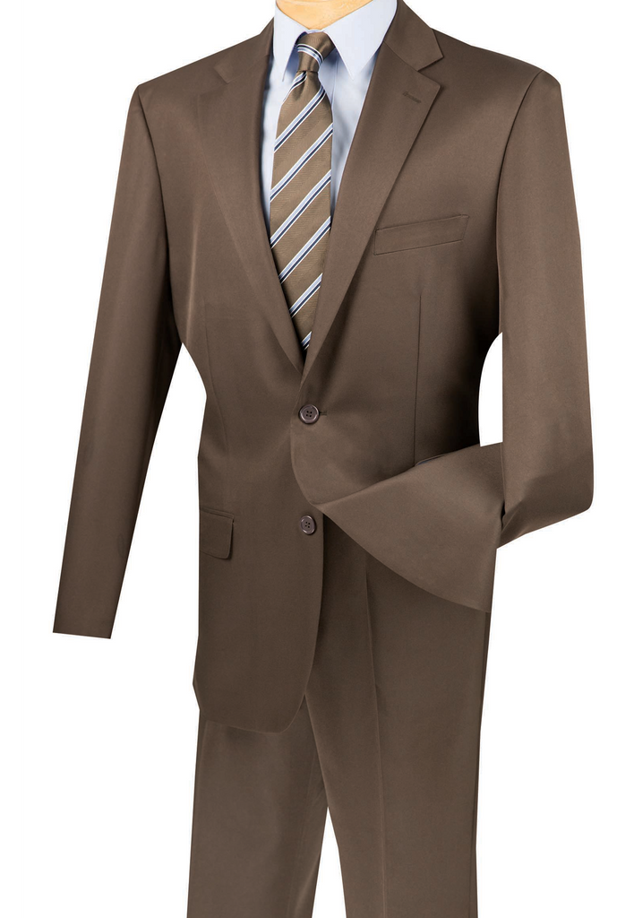 Duomo Collection - Cocoa Men's Regular Fit Suit 2 Piece Collection Two Button Design - Mens Suits