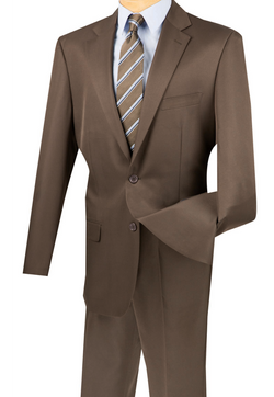 Duomo Collection - Cocoa Men's Regular Fit Suit 2 Piece 2 Button - SUITS FOR MENS