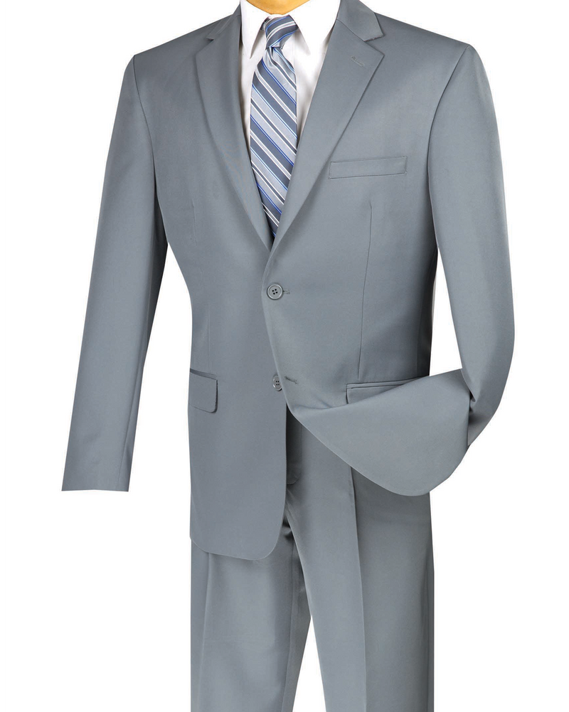 Duomo Collection - Gray Men's Regular Fit Suit 2 Piece 2 Button - SUITS FOR MENS