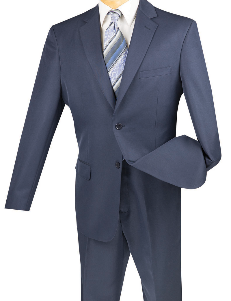 Duomo Collection - Navy Men's Regular Fit Suit 2 Piece 2 Button - SUITS FOR MENS
