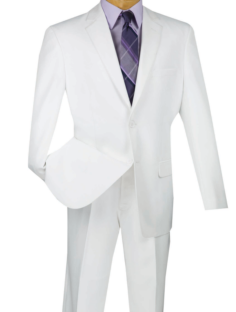 Duomo Collection - White Men's Regular Fit Suit 2 Piece 2 Button - SUITS FOR MENS