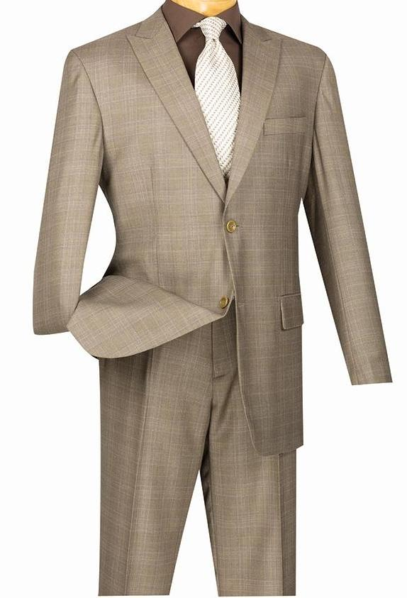 Pompey Collection - Men's Glen Plaid Dress Suit 2 Piece Regular Fit in Tan