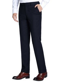 Dress Pants Regular Leg Un-Hemmed Bottoms in Dark Navy - SUITS FOR MENS