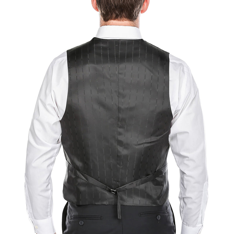 Classic Dress Vest 5 Buttons Regular Fit In Black - SUITS FOR MENS