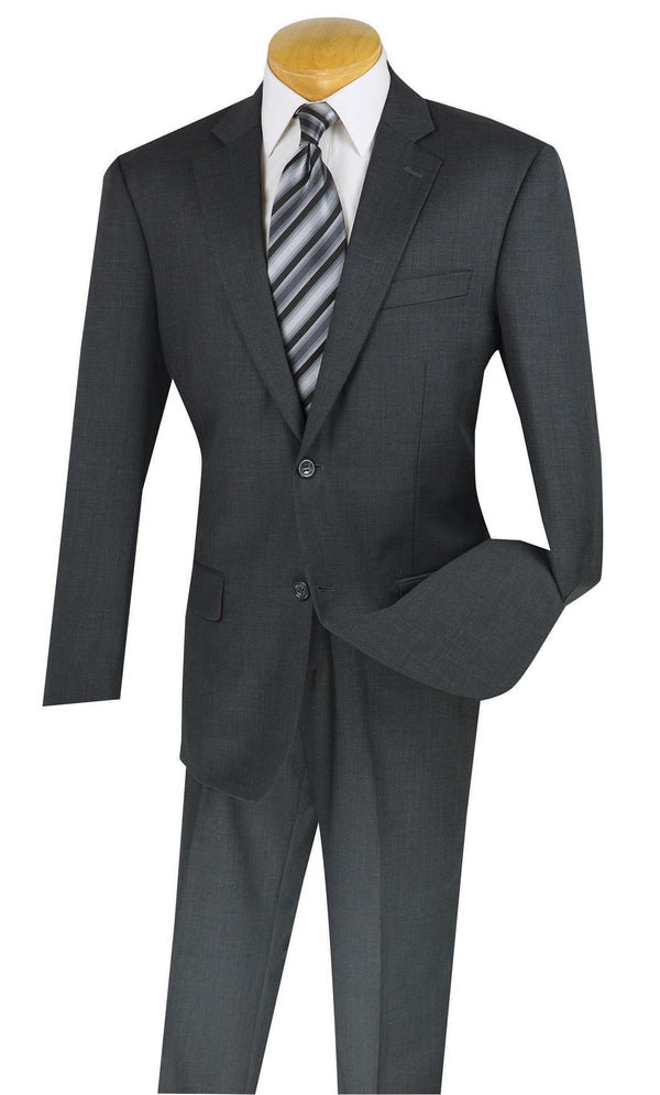 Wool Suit Regular Fit 2 Buttons 2 Pieces in Charcoal - Mens Suits