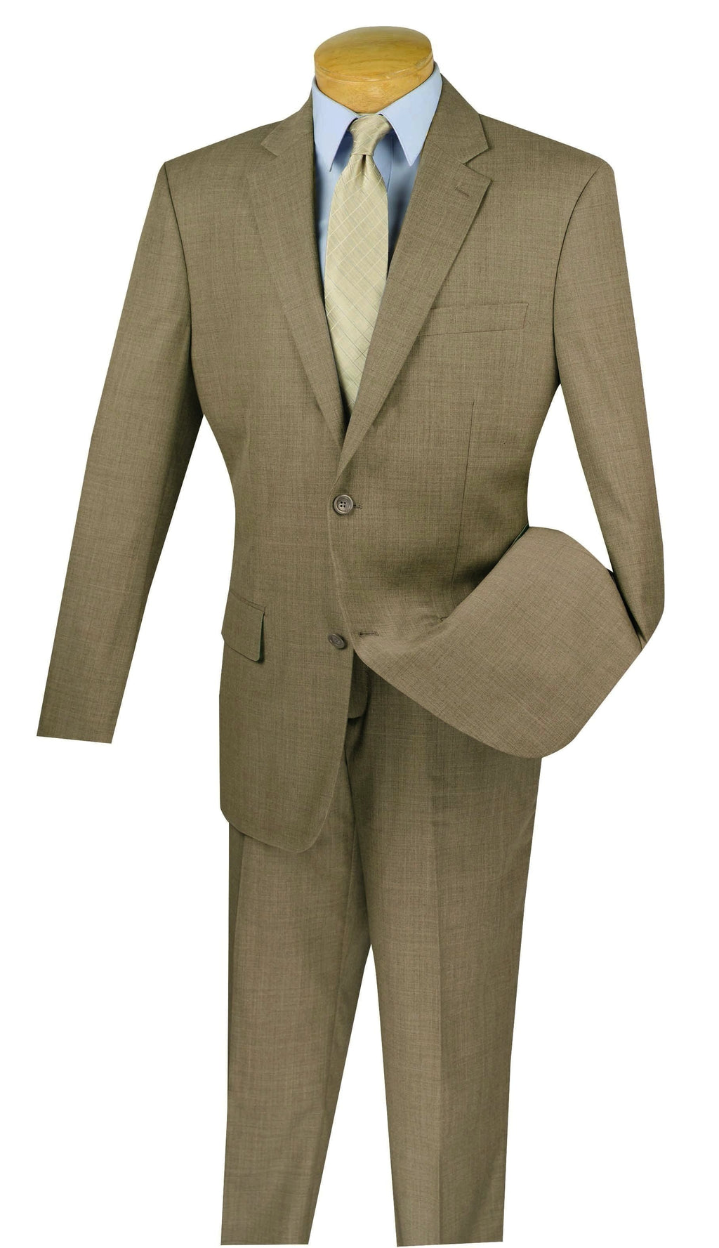 Wool Suit Regular Fit 2 Buttons Design Solid Khaki 2 Pieces