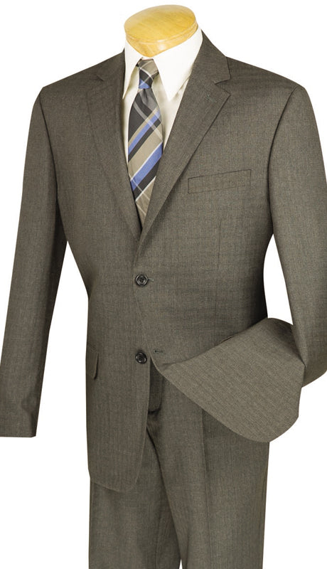 Avellino Collection - Regular Fit 2 Piece Suit 2 Button Textured Weave in Brown - SUITS FOR MENS
