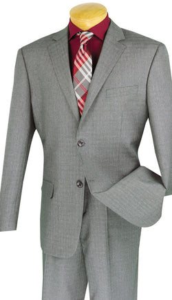 Avellino Collection - Regular Fit 2 Piece Suit 2 Button Textured Weave in Gray - SUITS FOR MENS