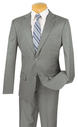 100% Wool Slim Fit 2 Button 2 Piece Suit in Gray - SUITS FOR MENS