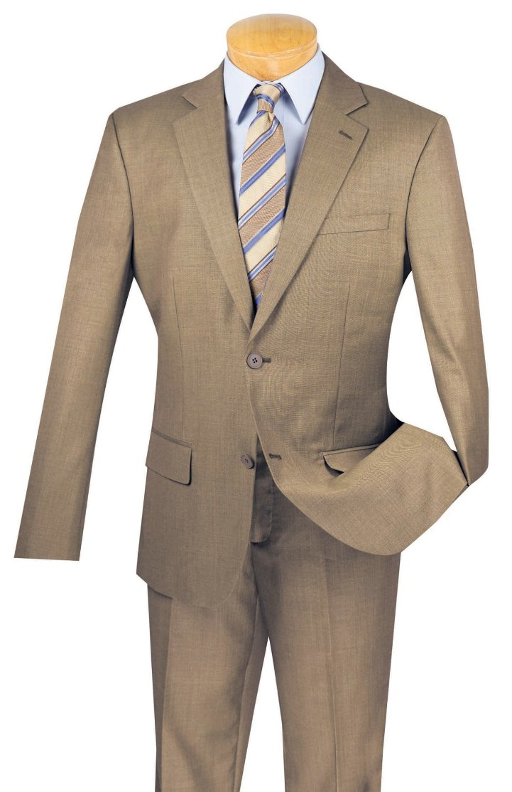 100% Wool Suit Slim Fit 2 Buttons 2 Piece Solid in Khaki - Mens Suits