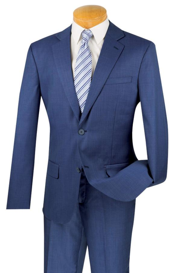 100% Wool Suit Slim Fit 2 Buttons 2 Piece in Navy - Mens Suits