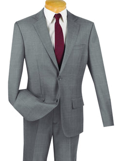 100% Wool Windowpane Slim Fit 2 Button 2 Piece Suit in Gray - SUITS FOR MENS