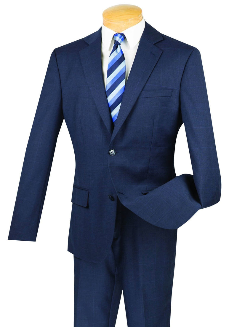 100% Wool Windowpane Slim Fit 2 Button 2 Piece Suit in Navy - SUITS FOR MENS