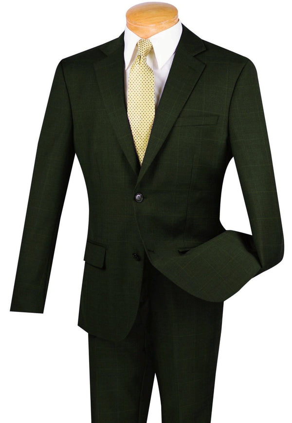 100% Wool Windowpane Slim Fit 2 Button 2 Piece Suit in Olive - SUITS FOR MENS