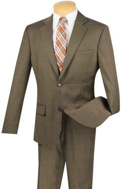 100% Wool Windowpane Slim Fit 2 Button 2 Piece Suit in Taupe - SUITS FOR MENS