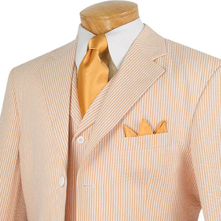 Regular Fit 100% Cotton 3 Pieces Striped Seersucker Suit in Peach - Mens Suits