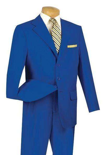 Mont Blanc Collection - Royal Blue Regular Fit Suit Three Buttons Design - SUITS OUTLETS