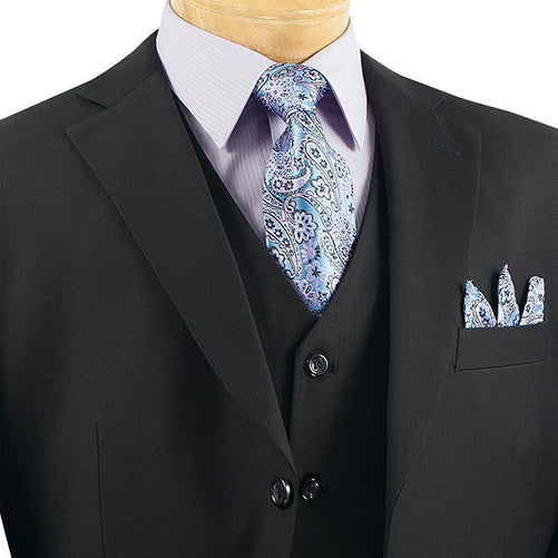 Avalon Collection - Regular Fit Men's Suit 3 Button 3 Piece Black - SUITS FOR MENS