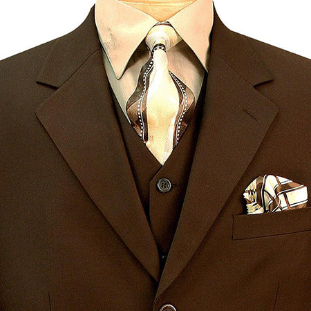 Avalon Collection - Regular Fit Men's Suit 3 Button 3 Piece Brown - SUITS FOR MENS