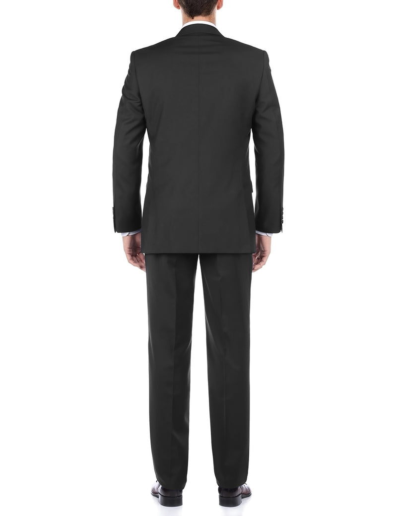 Bevagna Collection - 100% Virgin Wool Regular Fit 2 Piece Suit 2 Button in Black - SUITS FOR MENS