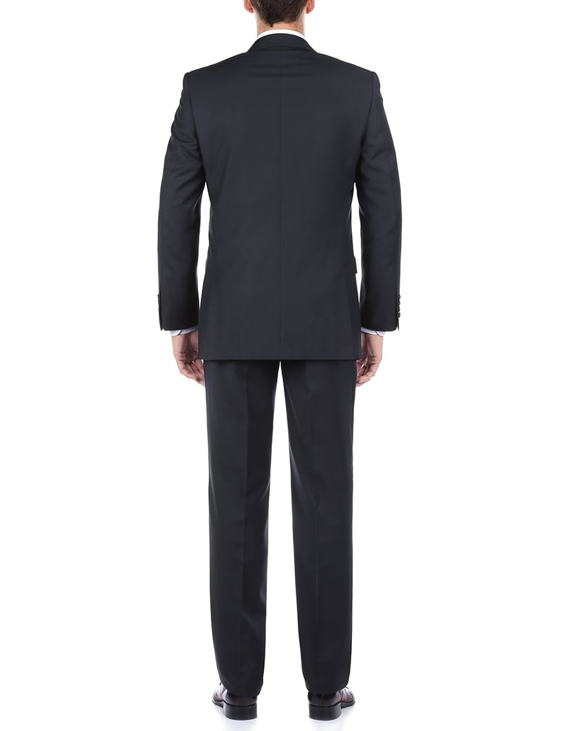 Bevagna Collection - 100% Wool Regular Fit 2 Piece Suit 2 Button in Navy - SUITS FOR MENS