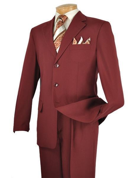 Mont Blanc Collection - Burgundy Suit Men's Classic Fit Three Buttons Design - SUITS OUTLETS