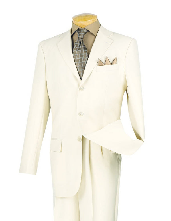 Mont Blanc Collection - Regular Fit Suit 3 Button 2 Piece in Ivory - SUITS FOR MENS