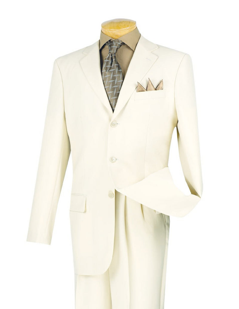 Mont Blanc Collection - Regular Fit Suit 3 Button 2 Piece in Ivory