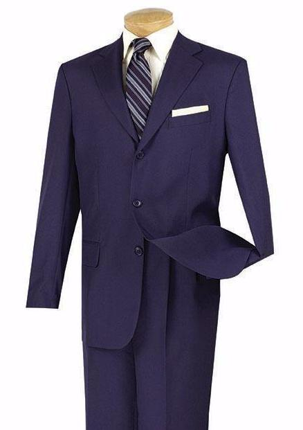 Everyday Wear Men's Classic Fit Suit Three Button Design in Navy - SUITS OUTLETS
