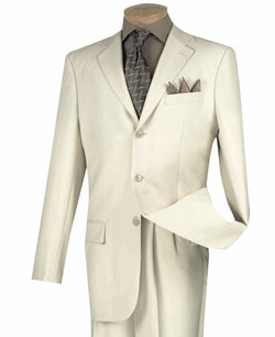 Stone Color Men's Suit Classic Fit Three Button Design - SUITS OUTLETS